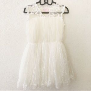 Popatu Ivory Lace Dress Flower Girl Size 6